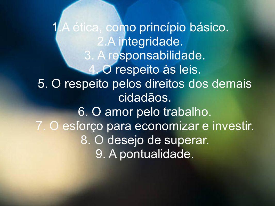 1.A ética, como princípio básico. 2.A integridade. 3. A responsabilidade. 4. O respeito às leis. 5. O respeito pelos direitos dos demais cidadãos. 6.
