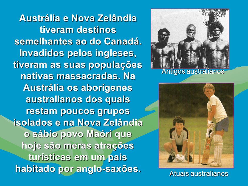 """Dizimados os """"povos primitivos e selvagens"""", só restou o território canadense, que foi totalmente ocupado pelos ingleses, para onde transferiram parte"""