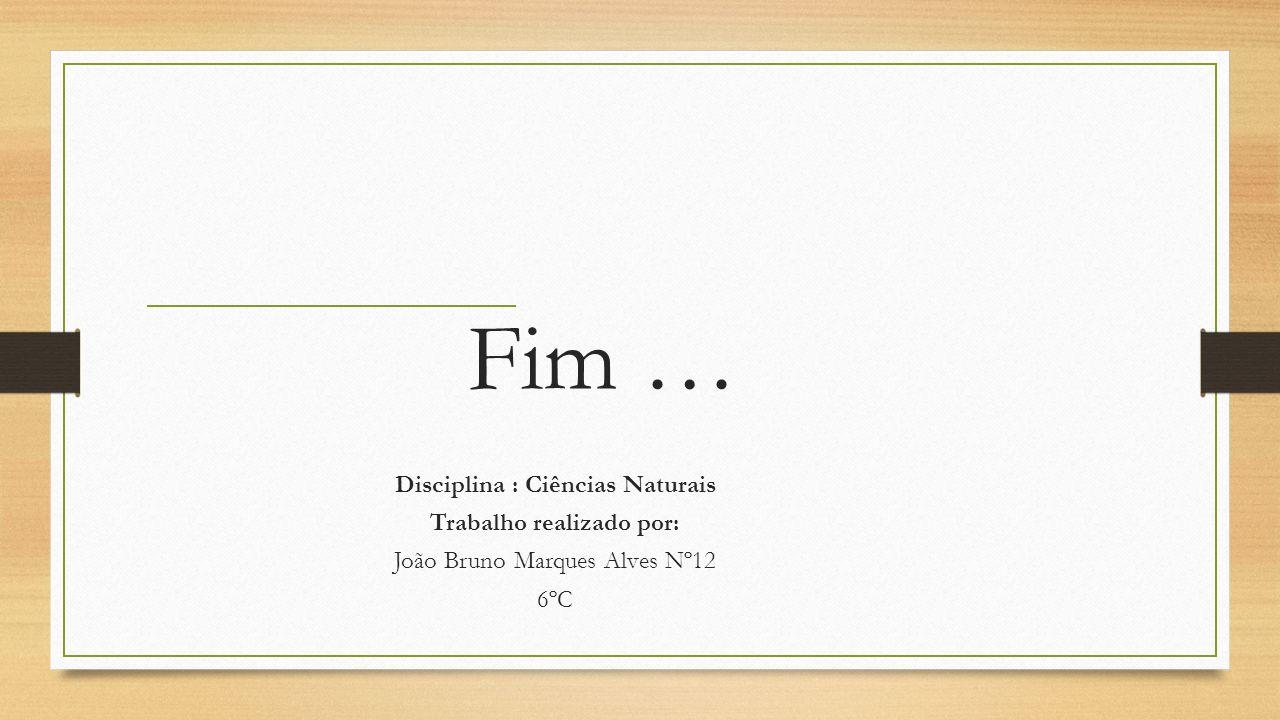 Fim … Disciplina : Ciências Naturais Trabalho realizado por: João Bruno Marques Alves Nº12 6ºC