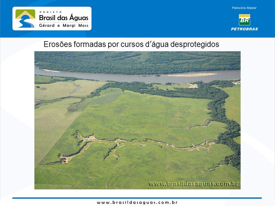 Erosões formadas por cursos d'água desprotegidos