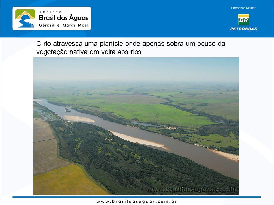 O rio atravessa uma planície onde apenas sobra um pouco da vegetação nativa em volta aos rios