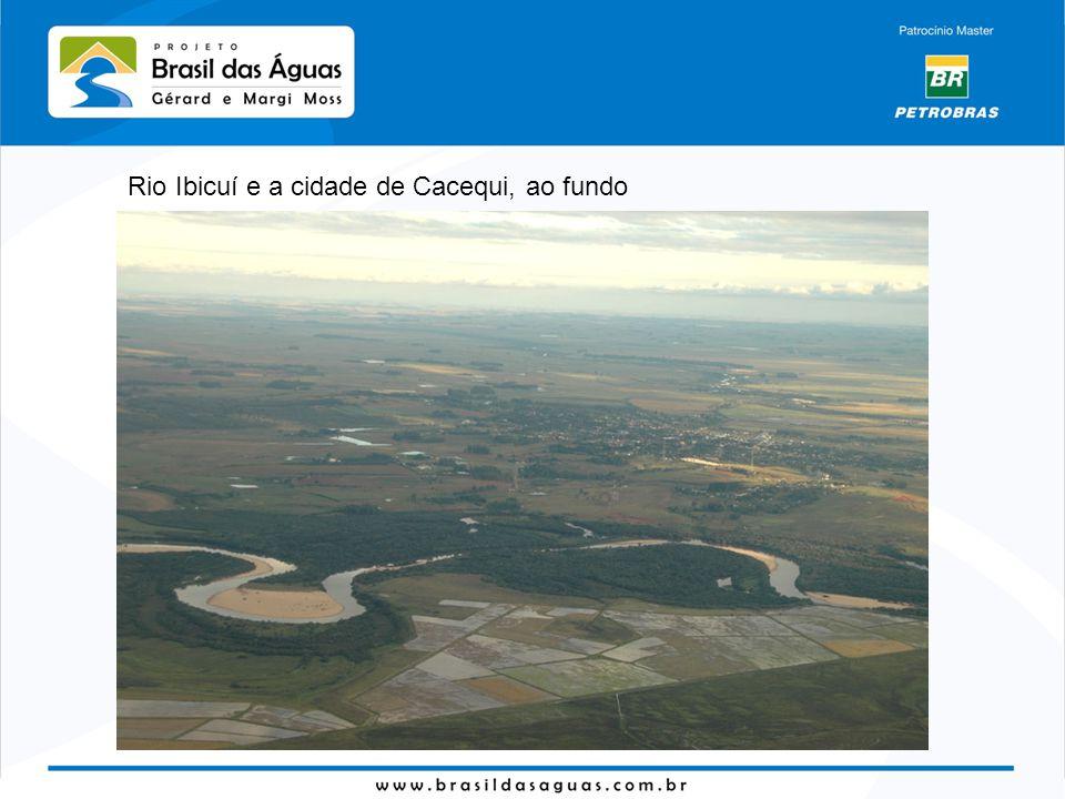 Rio Cacequi, afluente do Santa Maria, mostrando arrozais até a beira do rio