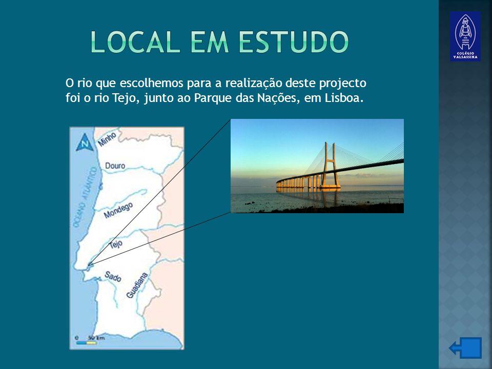 O rio que escolhemos para a realização deste projecto foi o rio Tejo, junto ao Parque das Nações, em Lisboa.