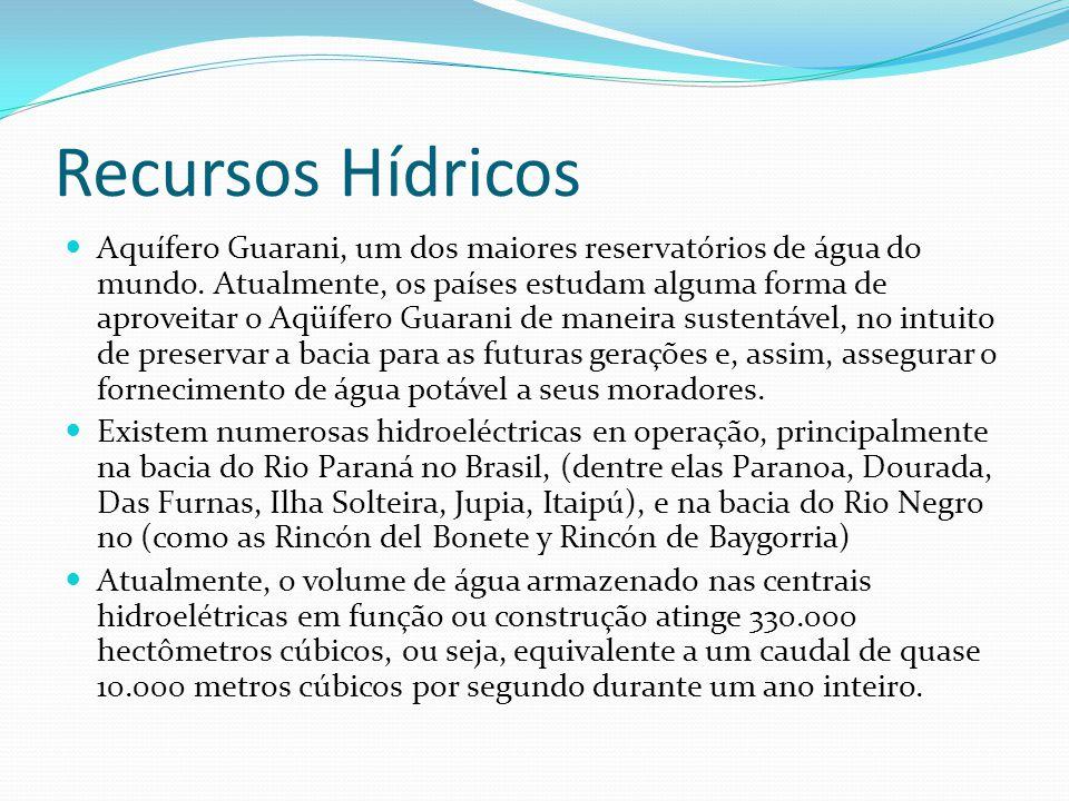 Recursos Hídricos Aquífero Guarani, um dos maiores reservatórios de água do mundo. Atualmente, os países estudam alguma forma de aproveitar o Aqüífero