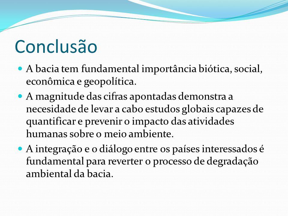 Conclusão A bacia tem fundamental importância biótica, social, econômica e geopolítica. A magnitude das cifras apontadas demonstra a necesidade de lev