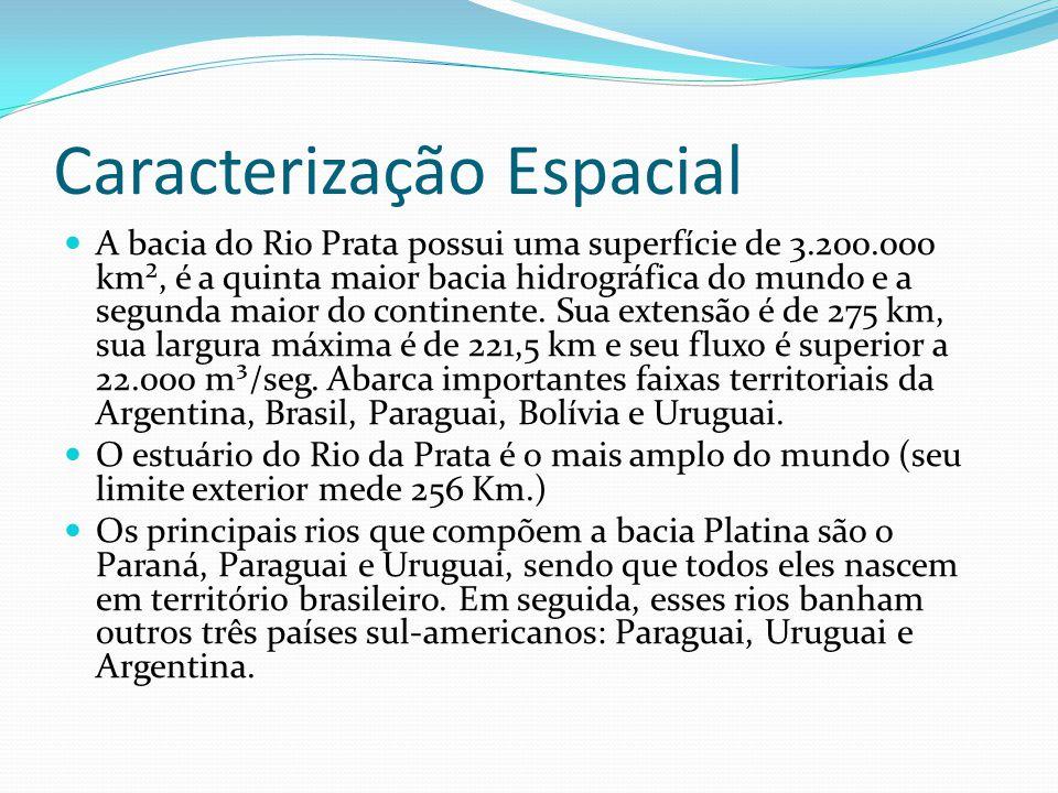 Caracterização Espacial A bacia do Rio Prata possui uma superfície de 3.200.000 km², é a quinta maior bacia hidrográfica do mundo e a segunda maior do