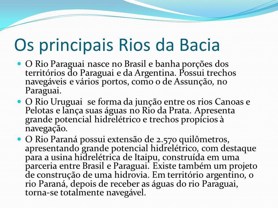 Os principais Rios da Bacia O Rio Paraguai nasce no Brasil e banha porções dos territórios do Paraguai e da Argentina. Possui trechos navegáveis e vár