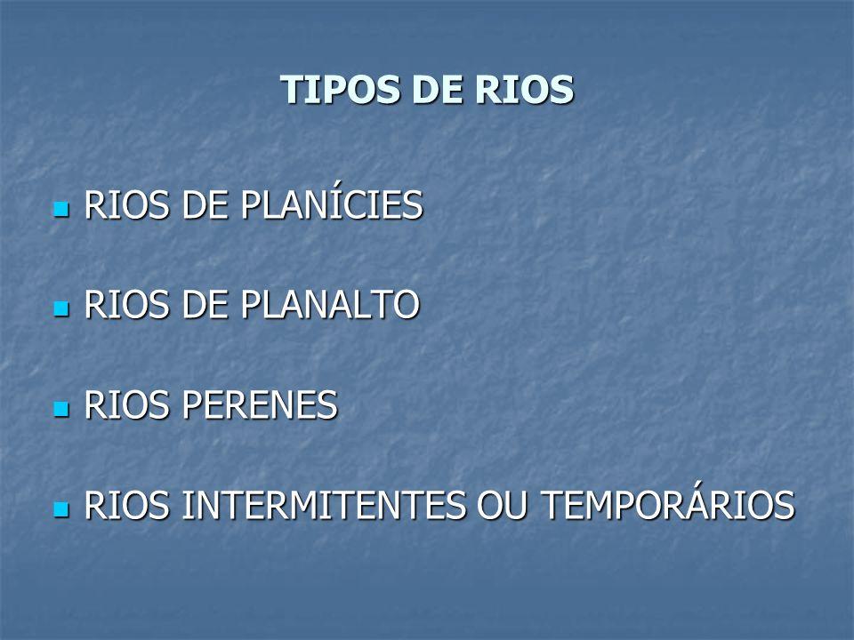TIPOS DE RIOS RIOS DE PLANÍCIES RIOS DE PLANÍCIES RIOS DE PLANALTO RIOS DE PLANALTO RIOS PERENES RIOS PERENES RIOS INTERMITENTES OU TEMPORÁRIOS RIOS I