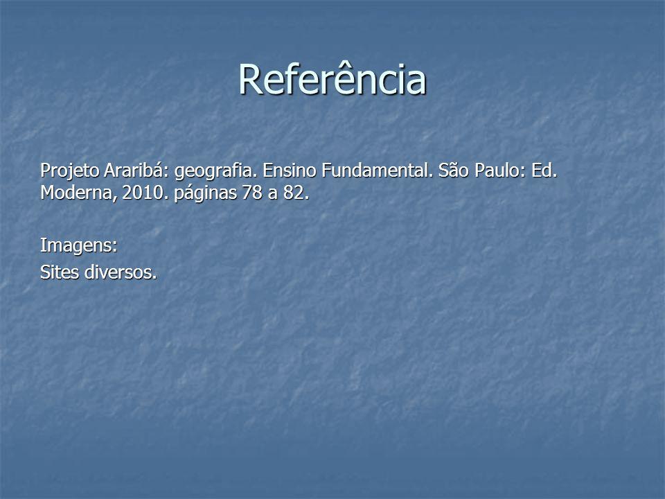 Referência Projeto Araribá: geografia. Ensino Fundamental. São Paulo: Ed. Moderna, 2010. páginas 78 a 82. Imagens: Sites diversos.
