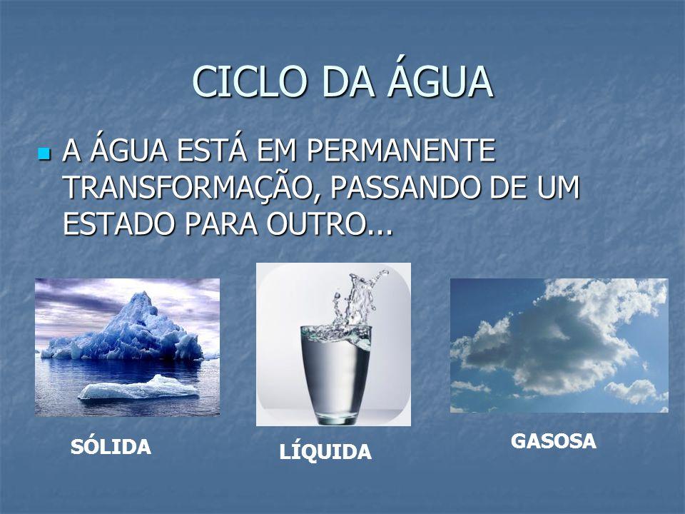 CICLO DA ÁGUA A ÁGUA ESTÁ EM PERMANENTE TRANSFORMAÇÃO, PASSANDO DE UM ESTADO PARA OUTRO... A ÁGUA ESTÁ EM PERMANENTE TRANSFORMAÇÃO, PASSANDO DE UM EST