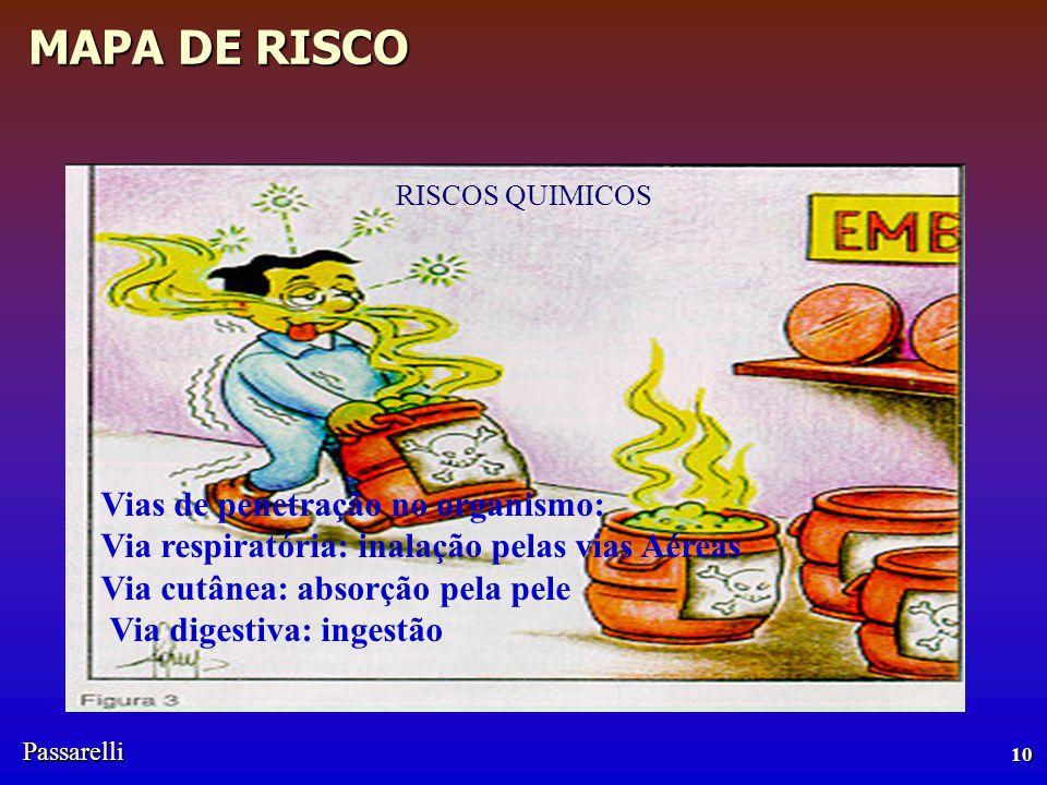 Passarelli MAPA DE RISCO RISCOS QUIMICOS 10 Vias de penetração no organismo: Via respiratória: inalação pelas vias Aéreas Via cutânea: absorção pela pele Via digestiva: ingestão