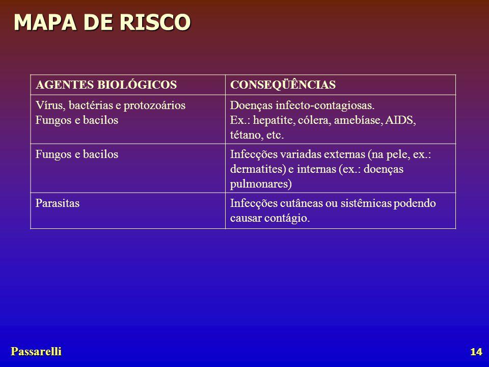 Passarelli MAPA DE RISCO 14 AGENTES BIOLÓGICOSCONSEQÜÊNCIAS Vírus, bactérias e protozoários Fungos e bacilos Doenças infecto-contagiosas.