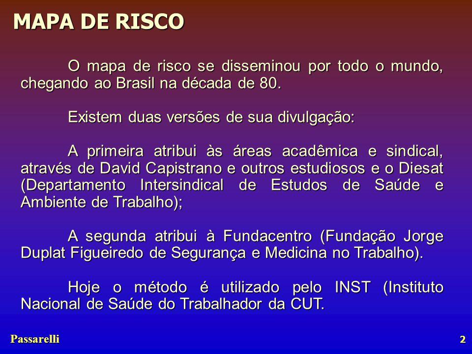 Passarelli MAPA DE RISCO 3 A construção dos mapas de risco é obrigatória A realização de mapeamento de riscos tornou-se obrigatória para todas as empresas que tenham CIPA, através da portaria no.