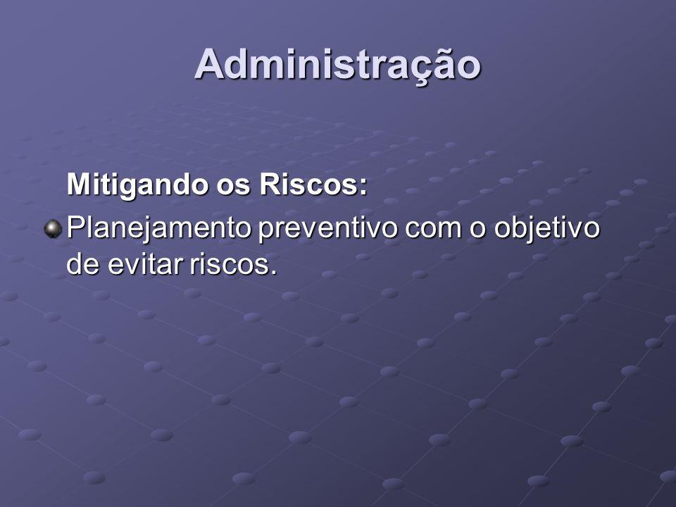 Administração Mitigando os Riscos: Planejamento preventivo com o objetivo de evitar riscos.