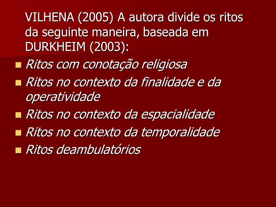 VILHENA (2005) A autora divide os ritos da seguinte maneira, baseada em DURKHEIM (2003): Ritos com conotação religiosa Ritos com conotação religiosa R