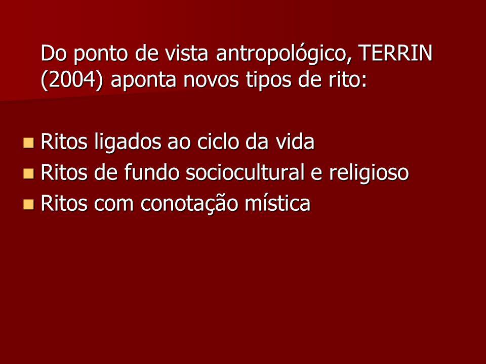 Do ponto de vista antropológico, TERRIN (2004) aponta novos tipos de rito: Ritos ligados ao ciclo da vida Ritos ligados ao ciclo da vida Ritos de fund