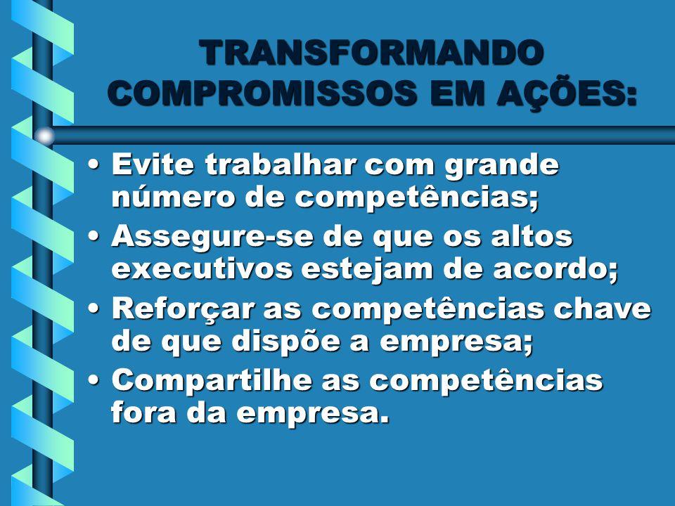 TRANSFORMANDO COMPROMISSOS EM AÇÕES: Evite trabalhar com grande número de competências;Evite trabalhar com grande número de competências; Assegure-se