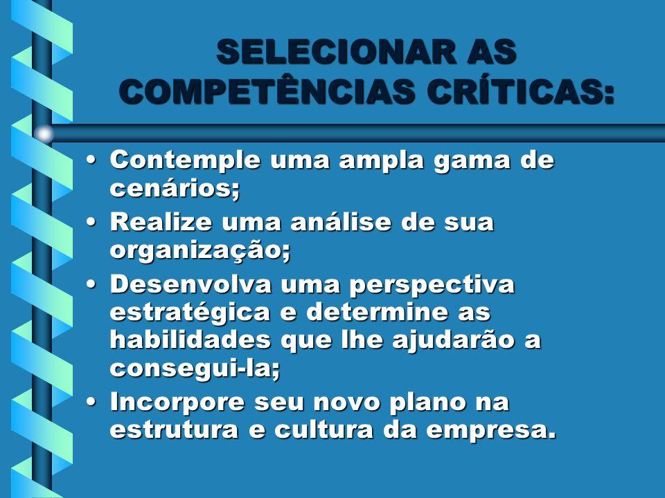 SELECIONAR AS COMPETÊNCIAS CRÍTICAS: Contemple uma ampla gama de cenários;Contemple uma ampla gama de cenários; Realize uma análise de sua organização