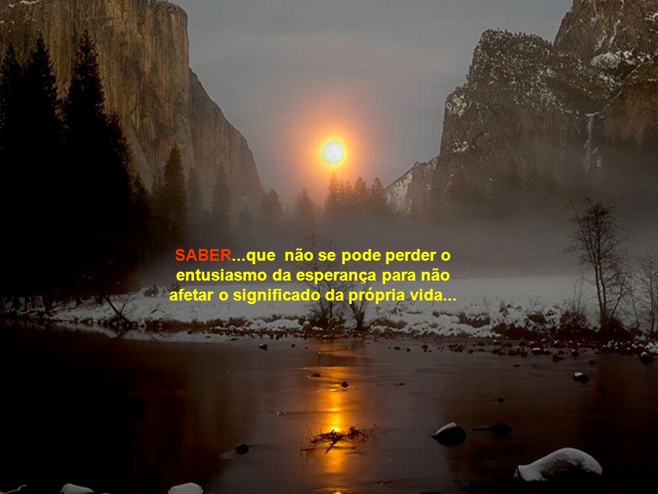 SABER...que as turbulências da vida são impostas como provação para superação e não apenas para lamentação...