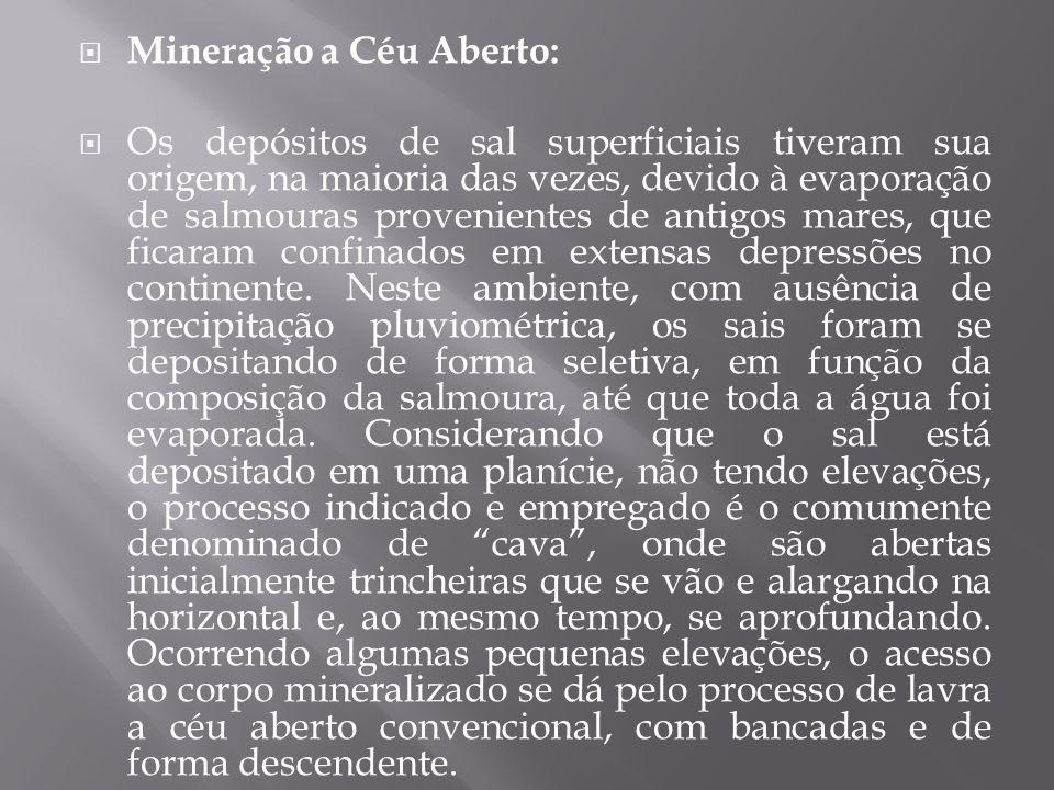  Mineração a Céu Aberto:  Os depósitos de sal superficiais tiveram sua origem, na maioria das vezes, devido à evaporação de salmouras provenientes d