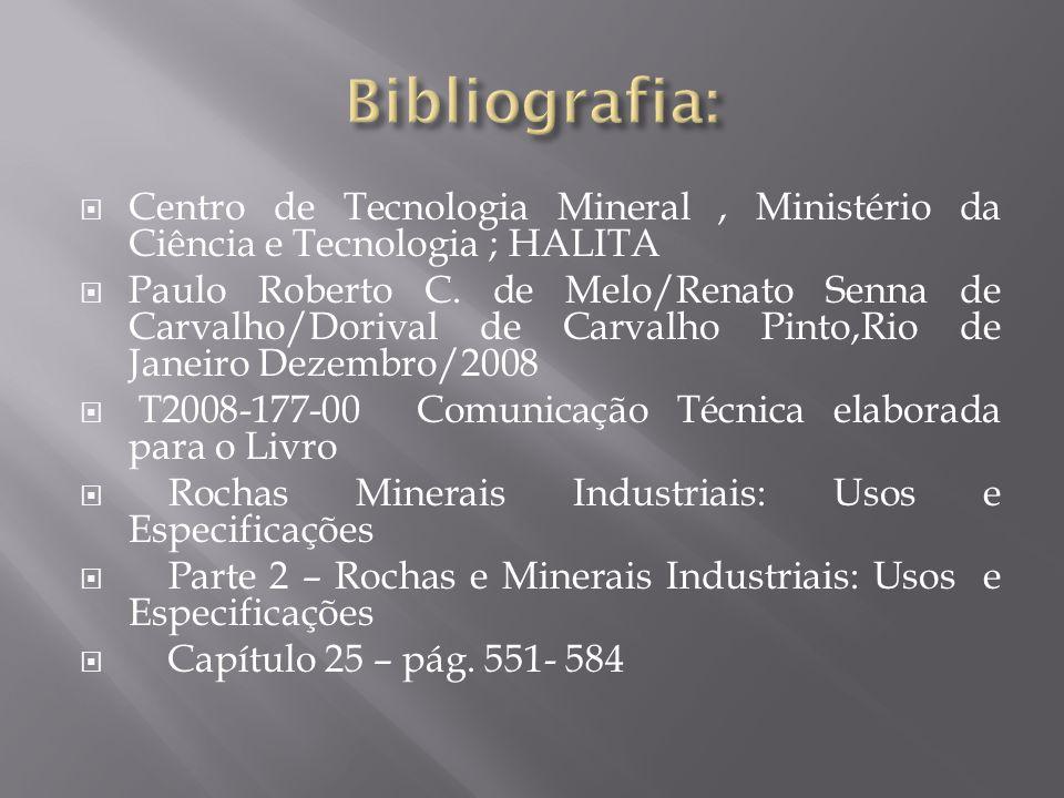  Centro de Tecnologia Mineral, Ministério da Ciência e Tecnologia ; HALITA  Paulo Roberto C. de Melo/Renato Senna de Carvalho/Dorival de Carvalho Pi