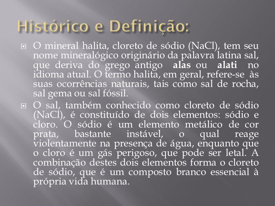  O mineral halita, cloreto de sódio (NaCl), tem seu nome mineralógico originário da palavra latina sal, que deriva do grego antigo alas ou alati no i