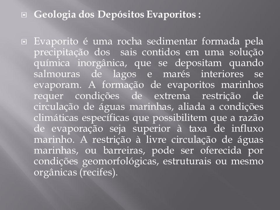  Geologia dos Depósitos Evaporitos :  Evaporito é uma rocha sedimentar formada pela precipitação dos sais contidos em uma solução química inorgânica