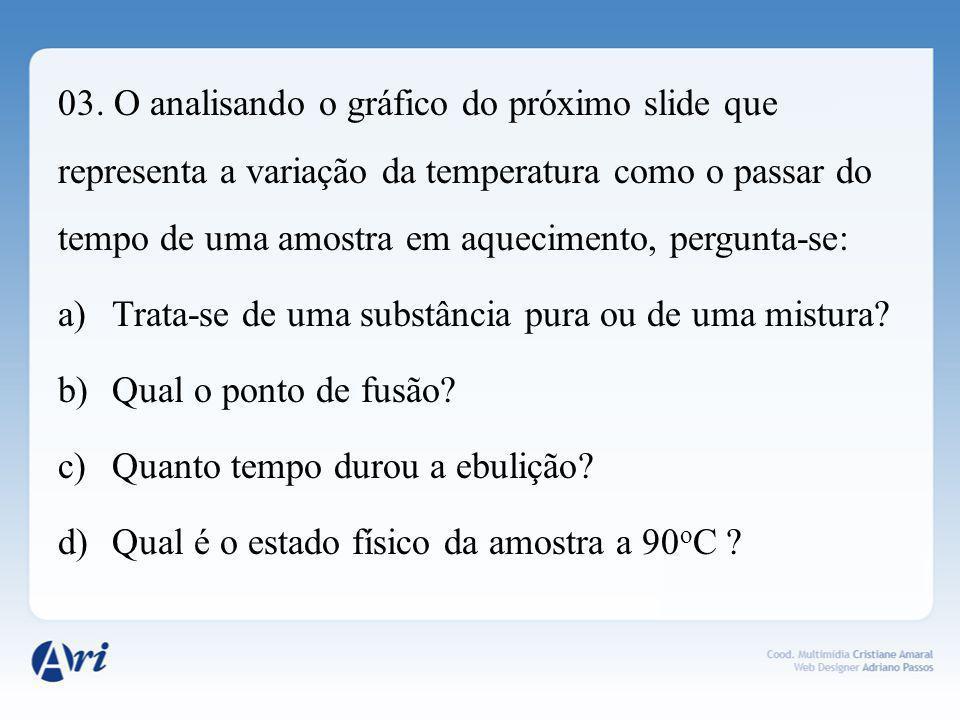 03. O analisando o gráfico do próximo slide que representa a variação da temperatura como o passar do tempo de uma amostra em aquecimento, pergunta-se