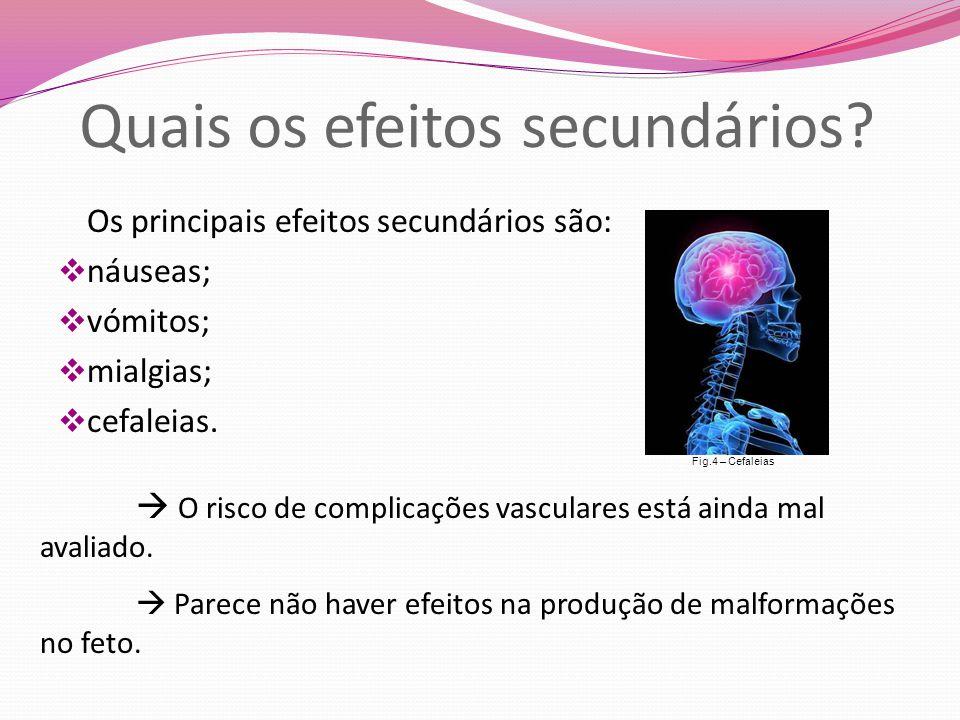 Quais os efeitos secundários? Os principais efeitos secundários são:  náuseas;  vómitos;  mialgias;  cefaleias.  O risco de complicações vascular