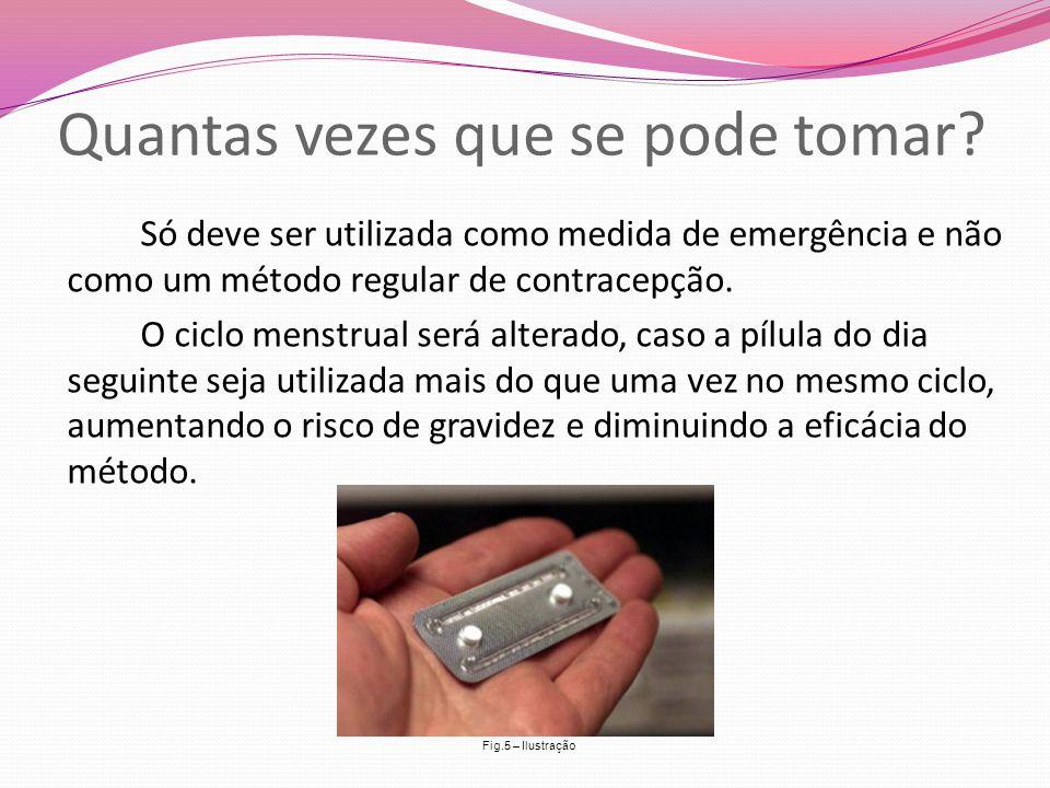 Quantas vezes que se pode tomar? Só deve ser utilizada como medida de emergência e não como um método regular de contracepção. O ciclo menstrual será