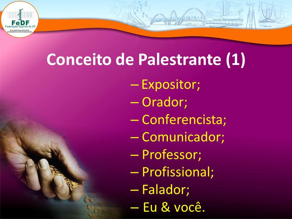 Conceito de Palestrante (1) – Expositor; – Orador; – Conferencista; – Comunicador; – Professor; – Profissional; – Falador; – Eu & você.