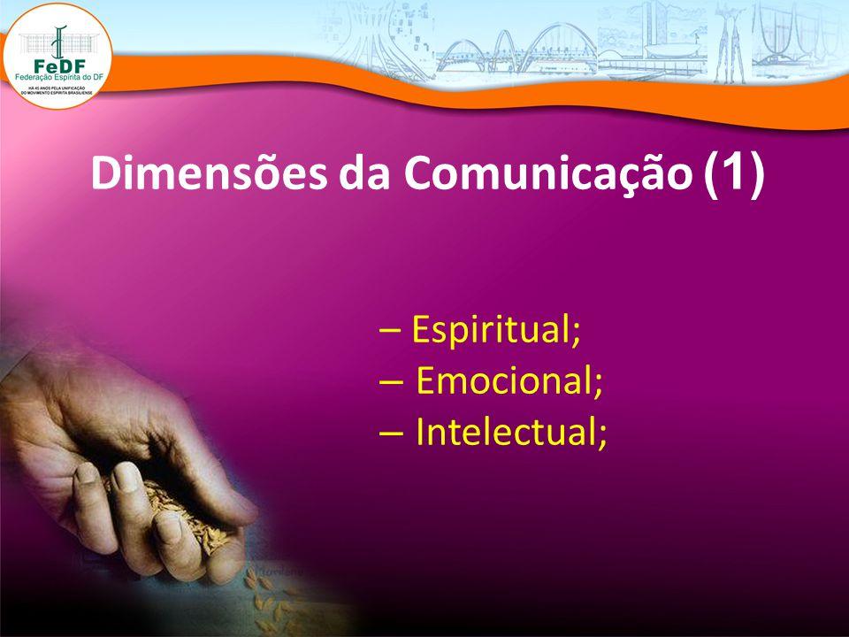 Dimensões da Comunicação (1) – Espiritual; – Emocional; – Intelectual;