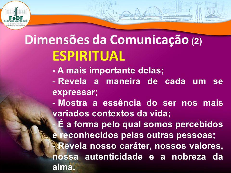 Dimensões da Comunicação (2) ESPIRITUAL - A mais importante delas; - Revela a maneira de cada um se expressar; - Mostra a essência do ser nos mais var