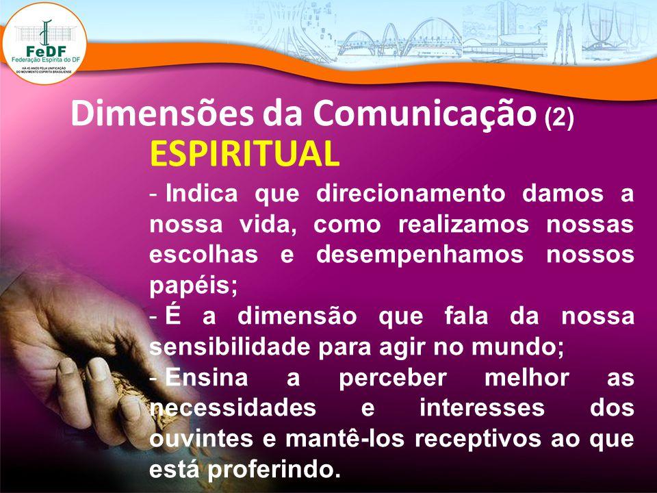 Dimensões da Comunicação (2) ESPIRITUAL - Indica que direcionamento damos a nossa vida, como realizamos nossas escolhas e desempenhamos nossos papéis;