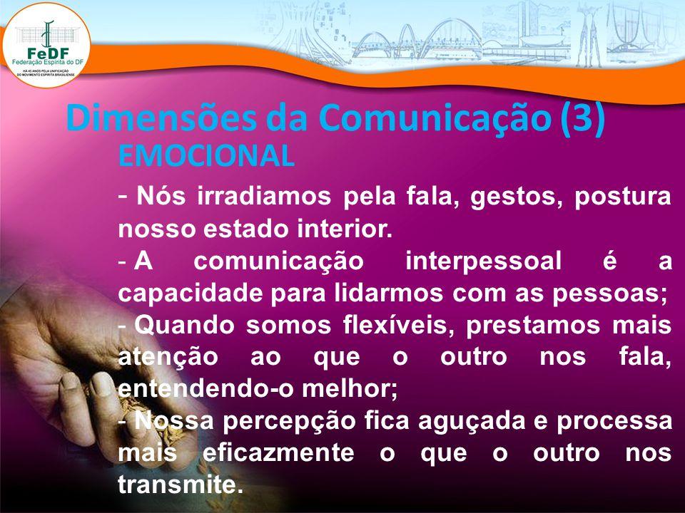Dimensões da Comunicação (3) EMOCIONAL - Nós irradiamos pela fala, gestos, postura nosso estado interior. - A comunicação interpessoal é a capacidade