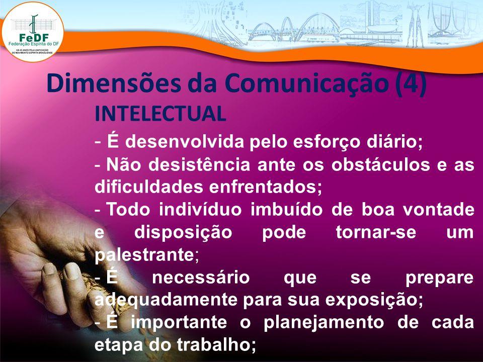 Dimensões da Comunicação (4) INTELECTUAL - É desenvolvida pelo esforço diário; - Não desistência ante os obstáculos e as dificuldades enfrentados; - T