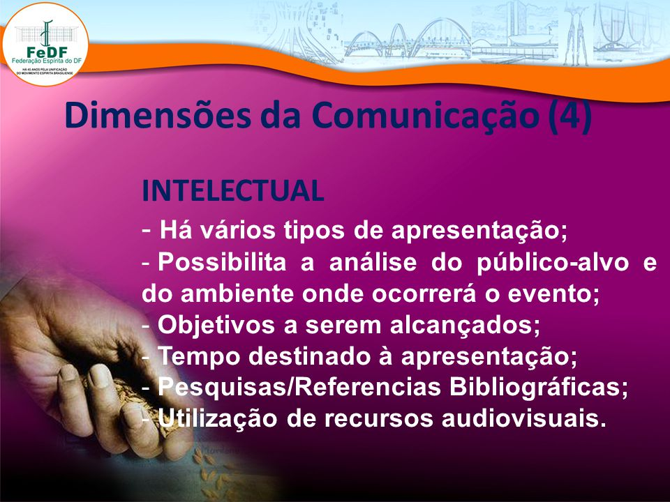 Dimensões da Comunicação (4) INTELECTUAL - Há vários tipos de apresentação; - Possibilita a análise do público-alvo e do ambiente onde ocorrerá o even