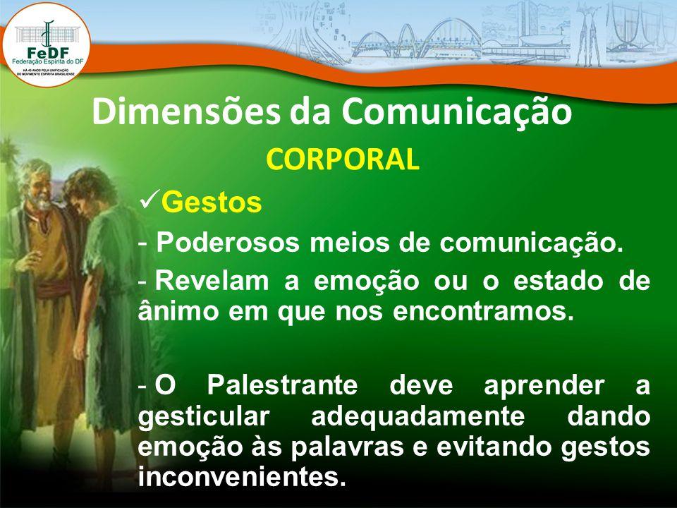 Dimensões da Comunicação CORPORAL Gestos - Poderosos meios de comunicação. - Revelam a emoção ou o estado de ânimo em que nos encontramos. - O Palestr
