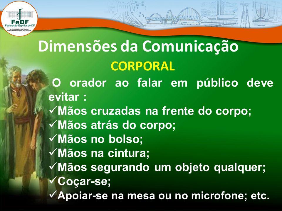Dimensões da Comunicação CORPORAL O orador ao falar em público deve evitar : Mãos cruzadas na frente do corpo; Mãos atrás do corpo; Mãos no bolso; Mão