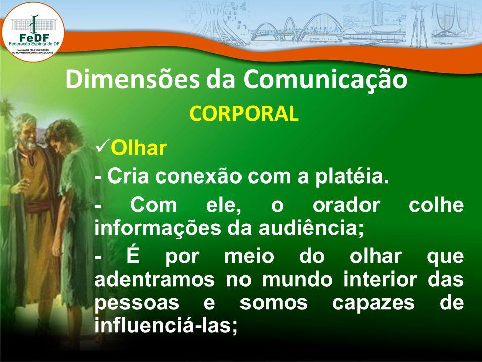Dimensões da Comunicação CORPORAL Olhar - Cria conexão com a platéia. - Com ele, o orador colhe informações da audiência; - É por meio do olhar que ad