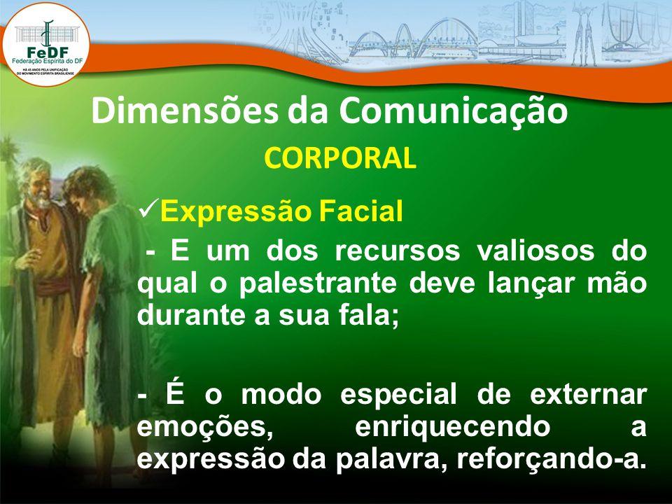Dimensões da Comunicação CORPORAL Expressão Facial - E um dos recursos valiosos do qual o palestrante deve lançar mão durante a sua fala; - É o modo e