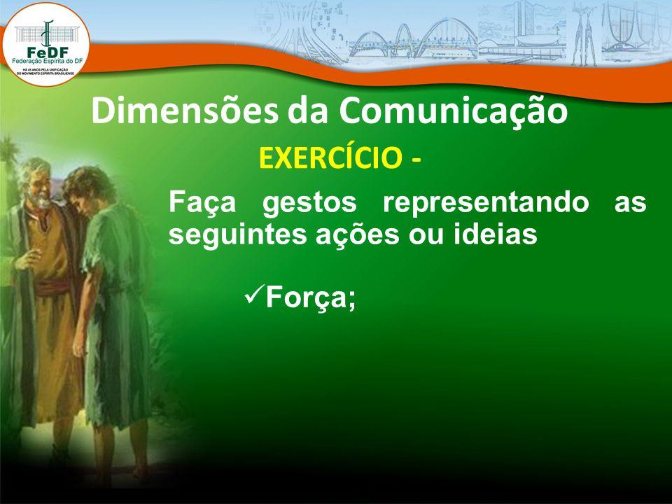 Dimensões da Comunicação EXERCÍCIO - Faça gestos representando as seguintes ações ou ideias Força;