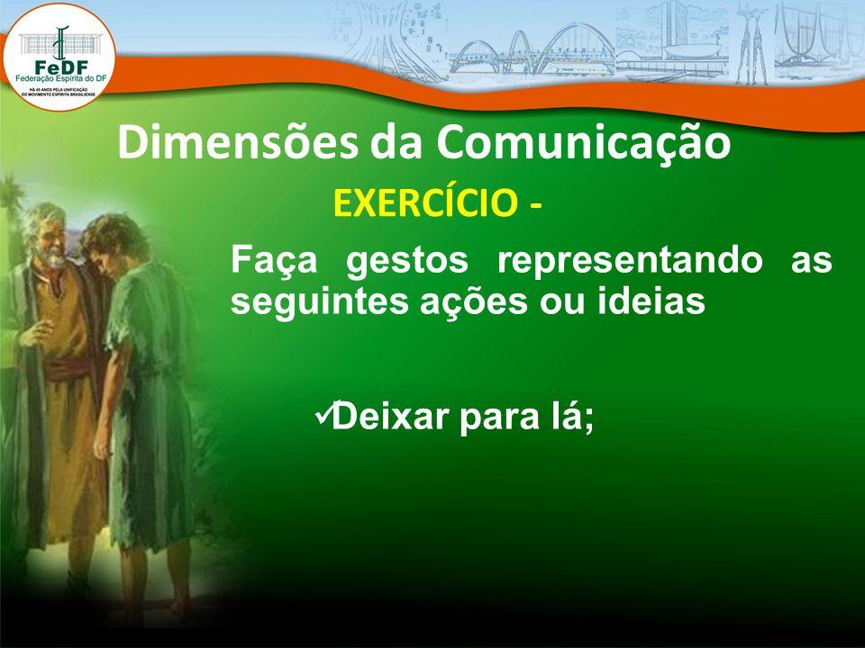 Dimensões da Comunicação EXERCÍCIO - Faça gestos representando as seguintes ações ou ideias Deixar para lá;