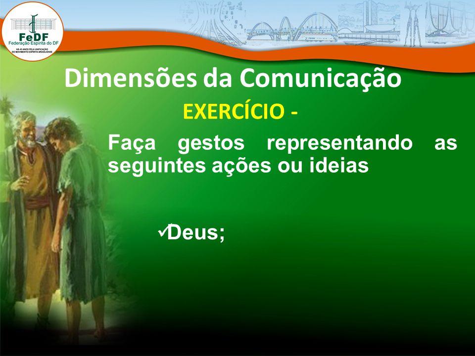 Dimensões da Comunicação EXERCÍCIO - Faça gestos representando as seguintes ações ou ideias Deus;