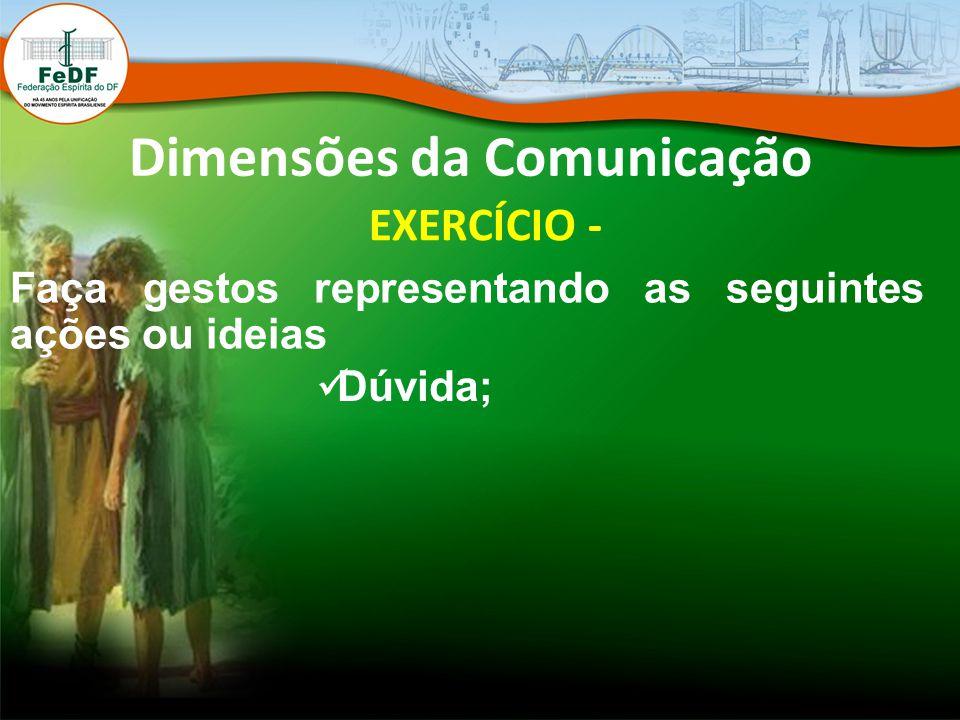 Dimensões da Comunicação EXERCÍCIO - Faça gestos representando as seguintes ações ou ideias Dúvida;