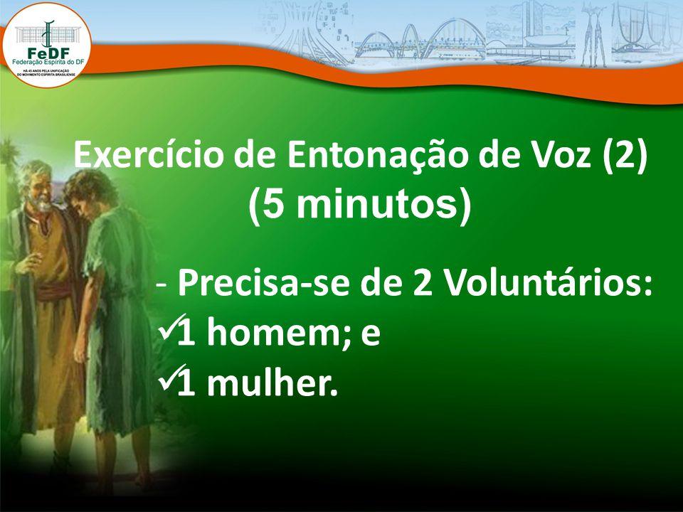 Exercício de Entonação de Voz (2) (5 minutos) - Precisa-se de 2 Voluntários: 1 homem; e 1 mulher.