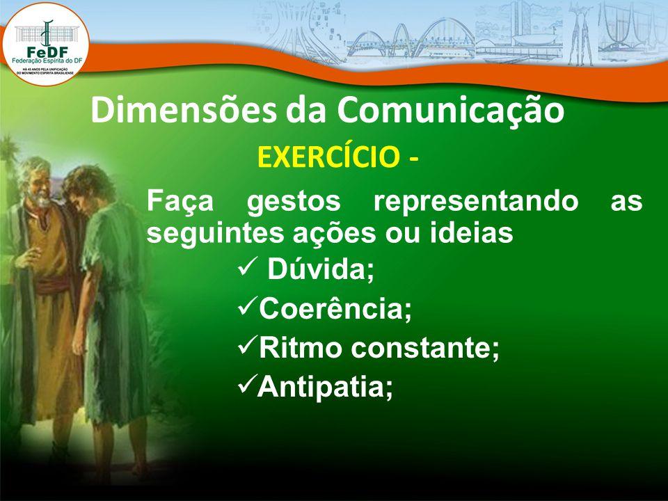 Dimensões da Comunicação EXERCÍCIO - Faça gestos representando as seguintes ações ou ideias Dúvida; Coerência; Ritmo constante; Antipatia;