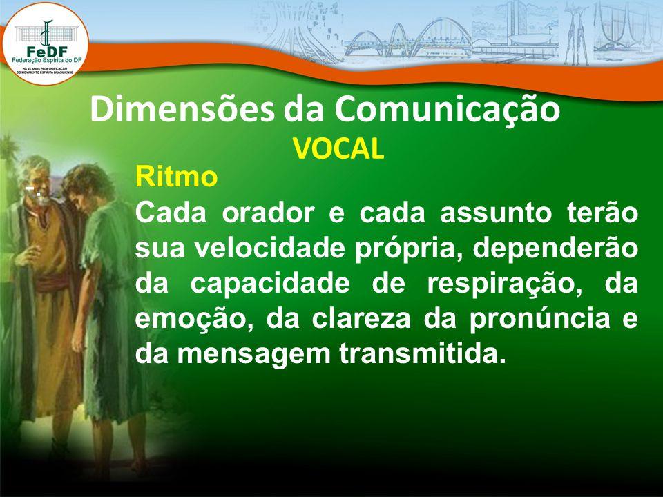 Dimensões da Comunicação VOCAL -. Ritmo Cada orador e cada assunto terão sua velocidade própria, dependerão da capacidade de respiração, da emoção, da