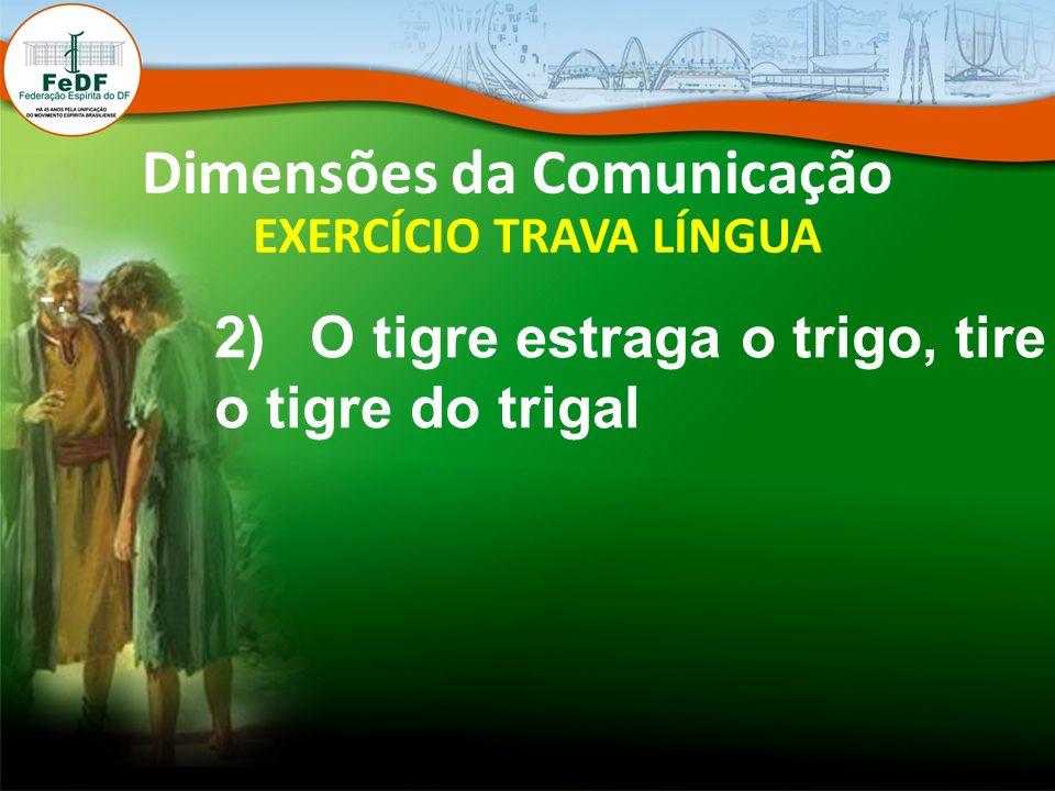 Dimensões da Comunicação EXERCÍCIO TRAVA LÍNGUA -. 2) O tigre estraga o trigo, tire o tigre do trigal