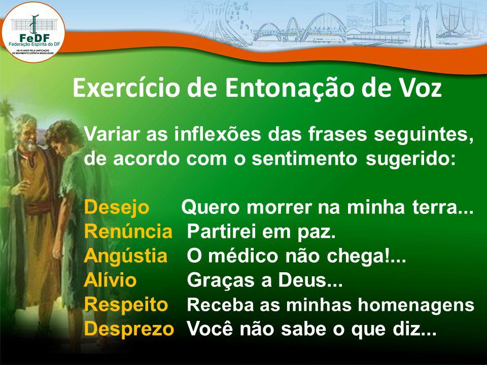 Exercício de Entonação de Voz Variar as inflexões das frases seguintes, de acordo com o sentimento sugerido: DesejoQuero morrer na minha terra... Renú